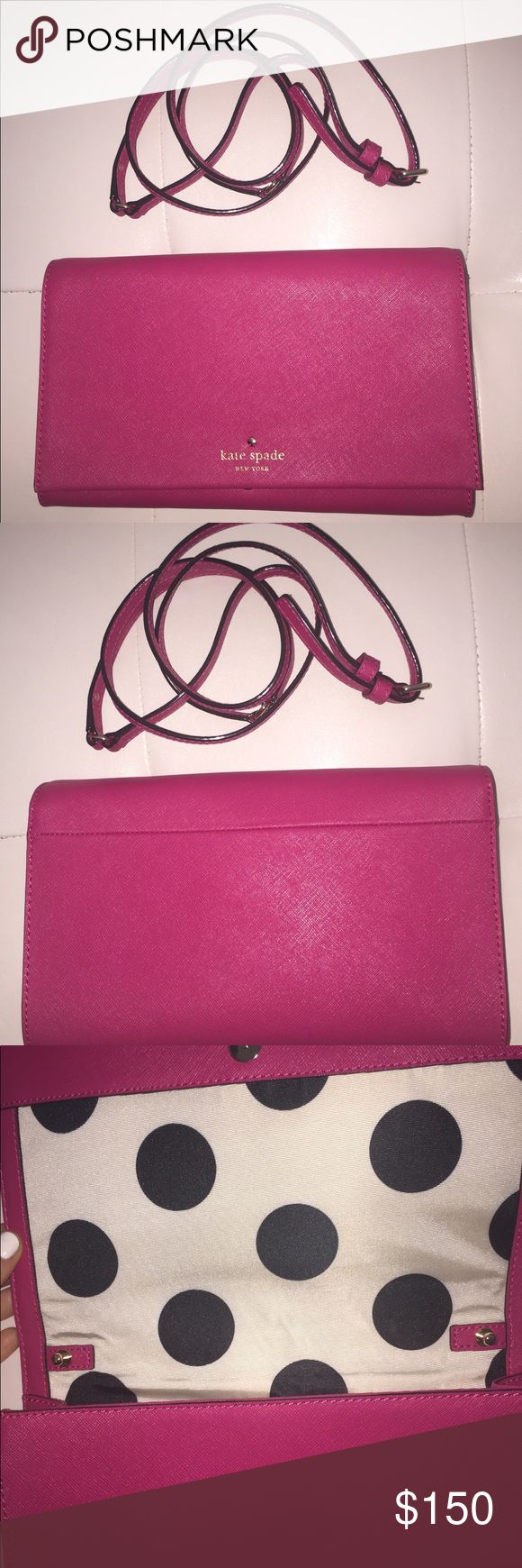"""Kate Spade Cedar Street Cali Pink Crossbody Kate Spade Cedar Street Cali Pink Crossbody/Clutch Bag Retails $198  • New Without Tags • From a Smoke Free & Pet Free Home • Dust Cover Not Included  SIZE • 5.7""""h x 9.8""""w x 0.8""""d • Drop length: 22.5"""" • Total strap length: 45.3""""  MATERIAL • Saffiano Leather with matching trim • 14-karat light gold plated hardware • Polka dot printed faille lining  DETAILS • Crossbody with adjustable and detachable strap • Snap closure • Interior zip pocket kate…"""