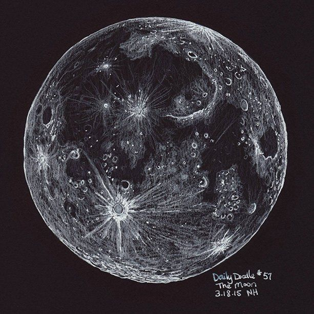 A drawing of the moon, white pencil and ink on black paper. La Bella Luna! This drawing is part of my daily doodle project. I'm attempting to do 365 days of doodles. The project is interactive and the