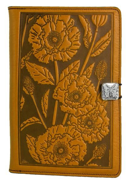 Leather iPad mini cases, covers & accessories and made in U.S.A., offered in a variety of images & colors. Oriental Poppy.