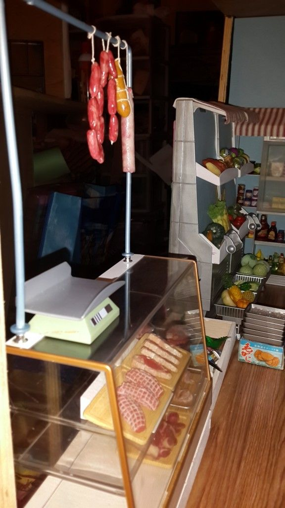 grocery store diorama- butcher's meat case