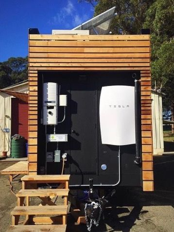 This is an Off-Grid THOW with a Tesla Wall Battery! It's called THIMBY and you can learn more about it right here. We are Tiny House in My Backyard (THIMBY), an interdisciplinary team of UC B…