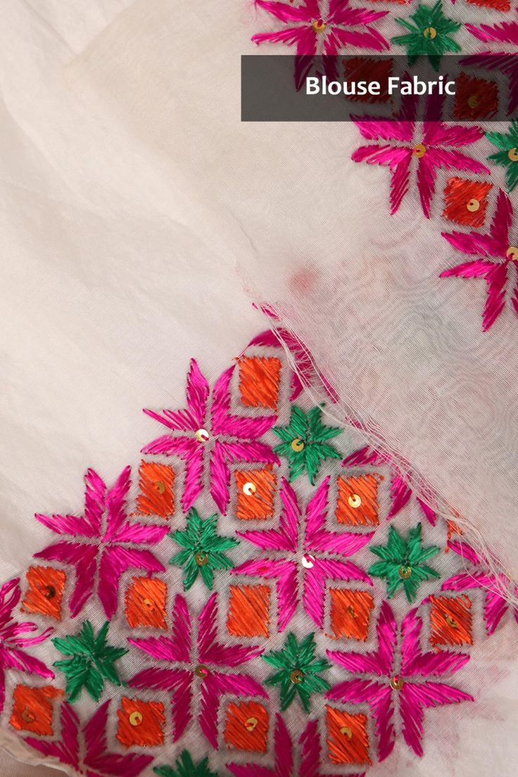 Phulkari Sarees | Classy White Chanderi Saree With Multicoloured Floral Phulkari Hand Embroidery & Gold Tissue Border | IndiaInMyBag.com
