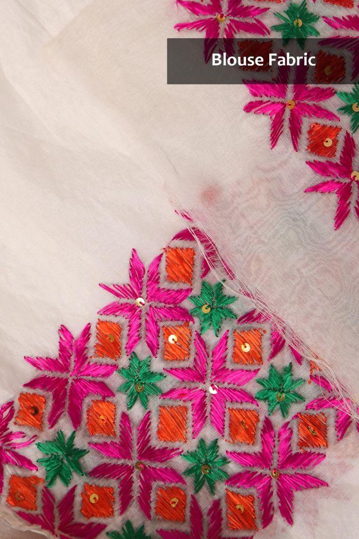Phulkari sarees classy white chanderi saree with