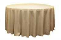 120' round polyester table cloth, beige - $12.49 each