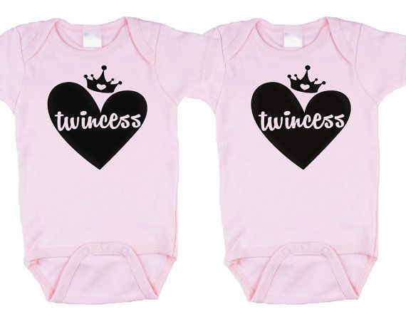 OH MY GOD!!!! Im loving this! Twincess on Pink twin onesies twin girl onesies by BebeBottleSling, $18.50