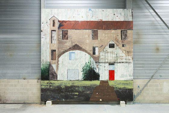 Alejandro Campins, Acertijo, 2015, enamel on canvas, 450 x 450 cm. Galleria Continua Les Moulins, 2015. Photo by Oak Taylor-Smith
