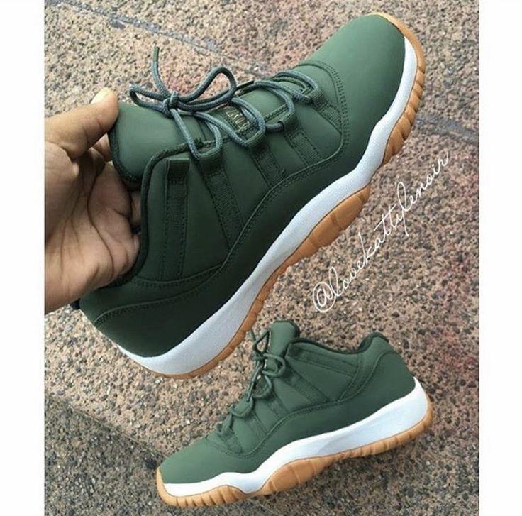 Jordan 11s custom matte green