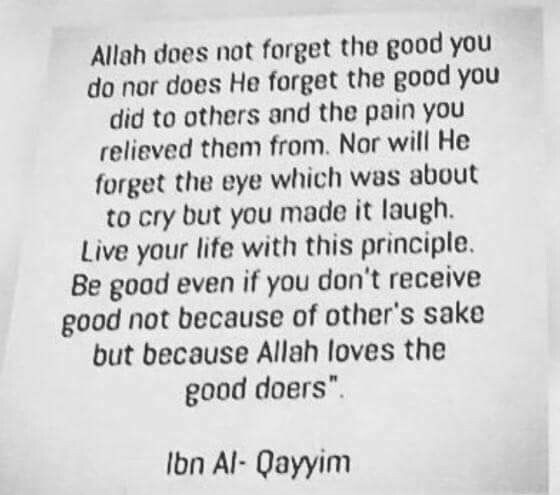 Allah does not forget the good you did, nor does he forget the good you did to others and the pain you removed from them,nor will he forget the eye which was about to cry, but you made it laugh. live your life with this principle,be good even if you don't receive good, not because of other's sake, but because allah loves the doer's of good.