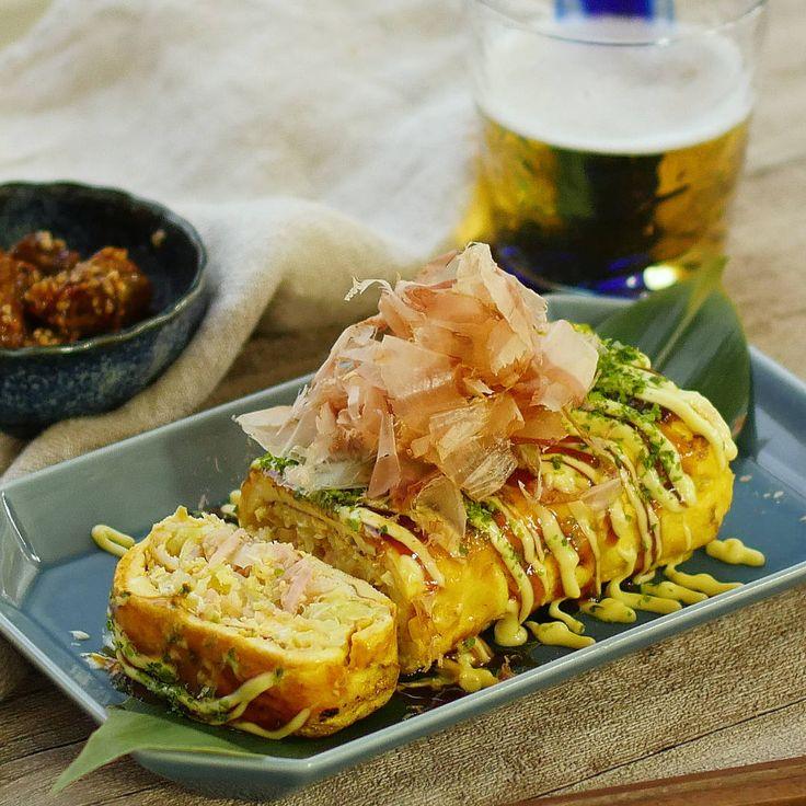 卵焼き器でくるっと!キャベツたっぷりとん平巻き - macaroni