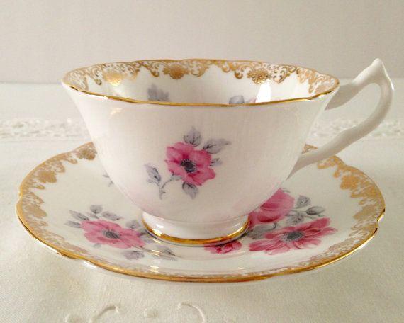 Roze Anemone Collingwoods China thee kopje en schotel