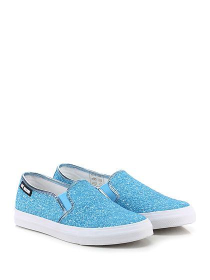 LOVE MOSCHINO - Sneakers - Donna - Sneaker in glitter con inserti elasticizzati su ambo i lati ed inserto laminato su retro. Suola in gomma, tacco 25. - TURCHESE - € 135.00
