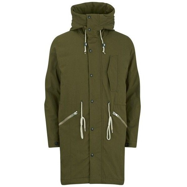 Paul Smith Jeans Men's Down-Filled Fishtail Parka - Khaki ($600) ❤ liked on Polyvore featuring mens, men's clothing, men's outerwear, men's coats and stone