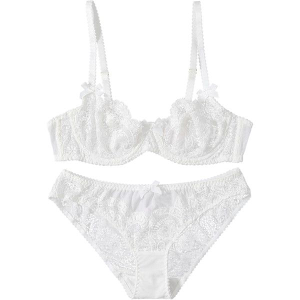 Sheer Lace Bra And Panty Lingeries White (29 AUD) ❤ liked on Polyvore featuring intimates, white lingerie and sheer lace lingerie