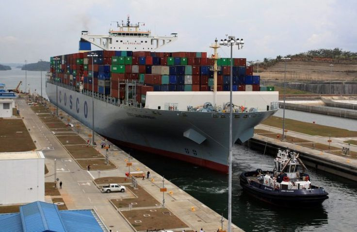 The container ship COSCO Development is seen as it becomes the largest vessel in dimension and capacity to transit the Expanded Panama Canal at Agua Clara locks, on the outskirts of Colon City, Panama May 2, 2017. REUTERS/Carlos Lemos/gCaptain