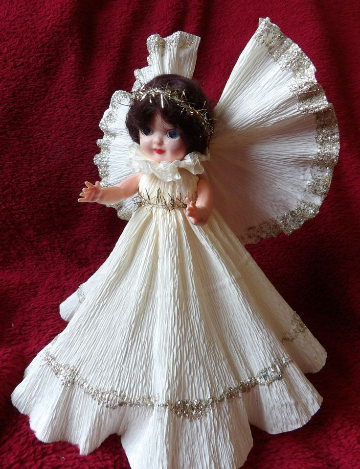 Vintage 1950 Gorgeous Rosebud Doll   Christmas Tree Fairy Angel Decoration