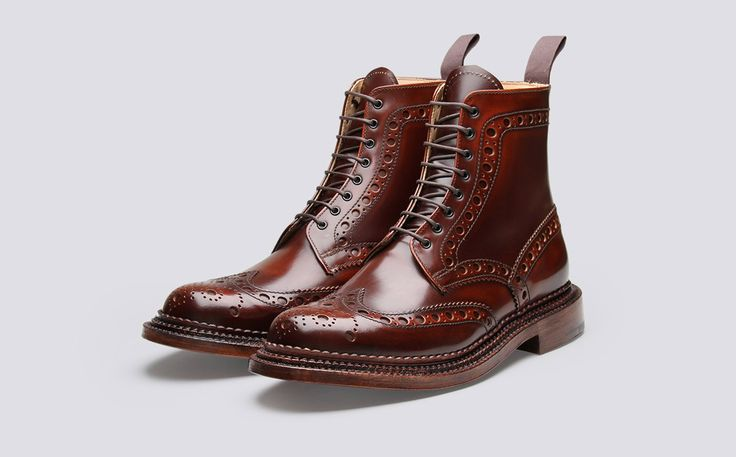 Mens Brogue Boot in Mahogany Calf Grain Leather with a Triple Welt Leather Sole | Fred | Grenson Shoes - Three Quarter View