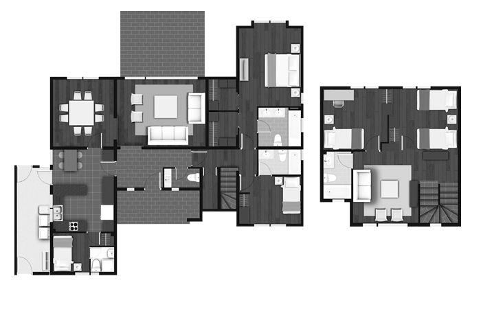 Planta Casa Chilena 185 m2, Los Robles, Inmobiliaria Manquehue
