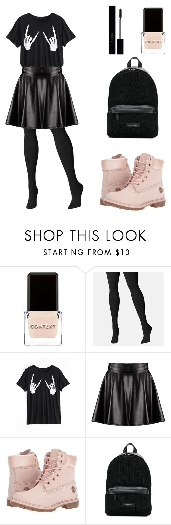 """""""School outfit fall black timberland halloween inspired"""" by alisa-soboleva-ua on Polyvore featuring Context, Avenue, Boohoo, Timberland, Givenchy and Gucci"""