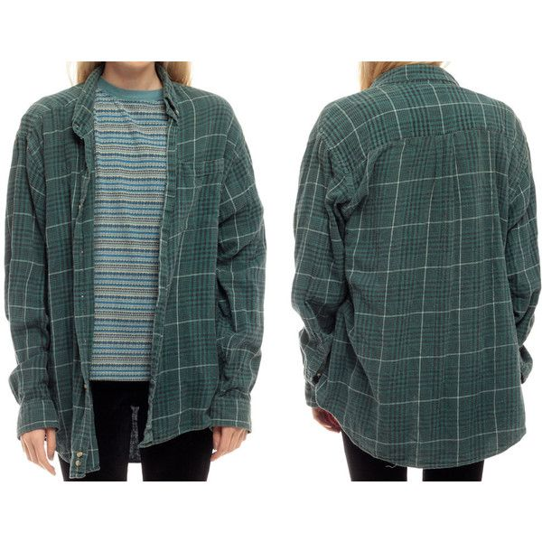 90s Plaid Shirt Green Flannel Shirt Grunge Button Up Faded ❤ liked on Polyvore featuring tops, plaid long sleeve shirt, long sleeve button down shirts, button down shirt, green top and button up shirts