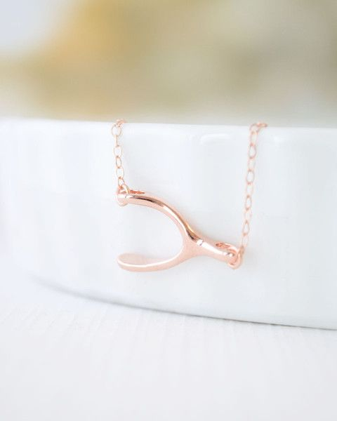 Horizontal Wishbone Necklace - petite side wishbone charm is available in rose gold or gold. By Olive Yew.