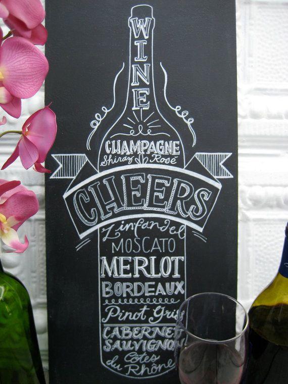 Kitchen Chalkboard Art Wine Lover Old Vintage by katiestintzi