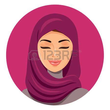 Красивая мусульманская женщина арабского в хиджаб, закрыв ее глаза вектор плоский значок аватара. Красивое лицо арабской мусульманской женщины. Портрет мусульманки в хиджабе. Изолированные. Иллюстрация