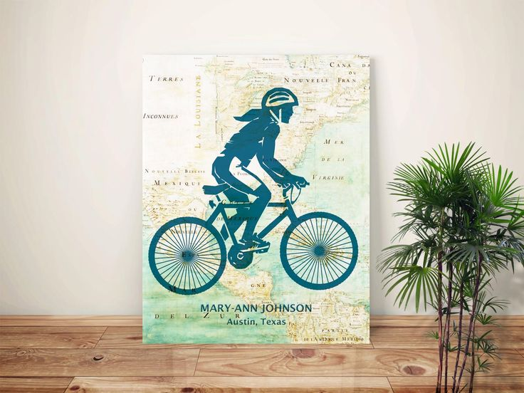 Cycling art, Bike art, Bicyclist Gifts, PERSONALIZED gift for Cyclist Girl, Cyclist female, bike map art, biking lovers, bicycle art by GeographicArt on Etsy