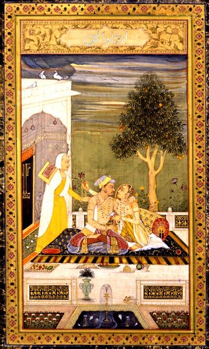 Jahangir with a Lady By a Hyderabad artist, circa 1760 A.D.A prince apparently modelled on the Mughal emperor Jahangir (1605-27) is seated on a terrace in close embrace with a lady. He seems to have just given her a heavy gold chain which she is passing unseen by him to her duenna.
