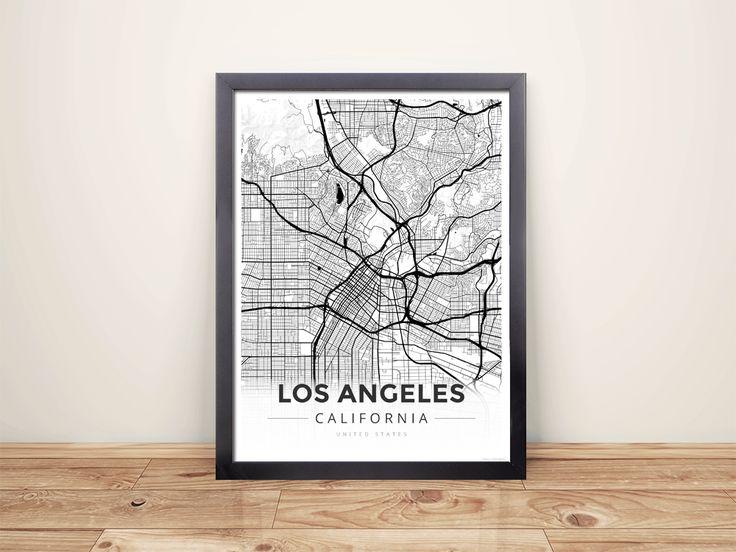 Framed Map Poster of Los Angeles California - Modern Black Ink - Los Angeles Map Art