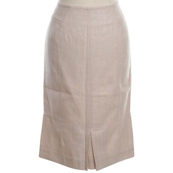 Pre-owned Pencil skirt in beige (3.945 CZK) ❤ liked on Polyvore featuring skirts, beige, pencil skirt, brown pleated skirt, pleated skirt, beige skirt and pleated pencil skirt