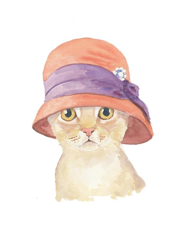 Original Cat Painting - Cat Watercolour, Cloche Hat, Animal Art, 8x10
