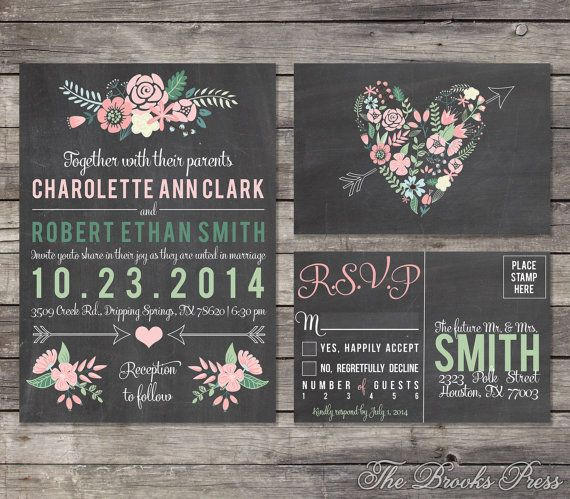Chalkboard Pastel Floral Wedding Invitation Suite by BrooksPress