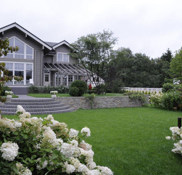 Ландшафтный дизайн участка с деревянным домом