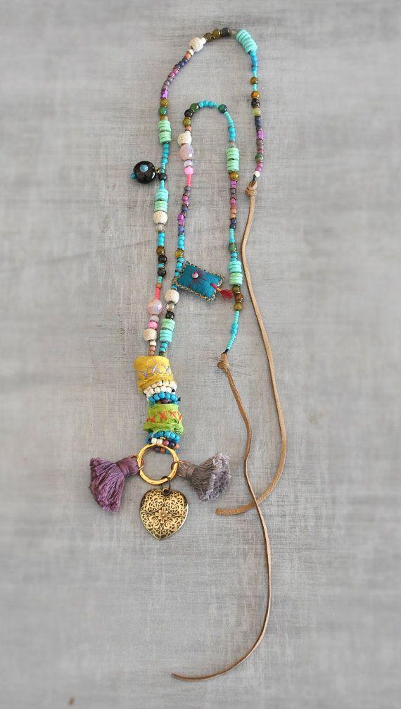 Sari Silk Beaded Necklace  Tassel Ethnic by stellacreations