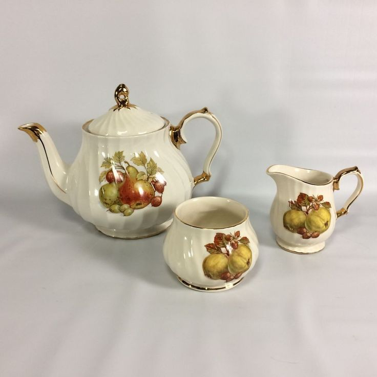 Sadler England Teapot Creamer Sugar Set Gilt Pear and Fig Design Vintage 1940s #Sadler