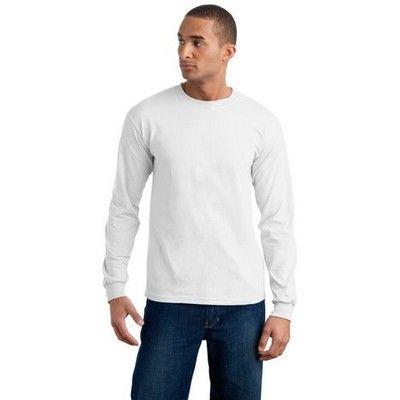 Adult Long Sleeve Cotton Shirt White Min 25 - An ultra tight knit surface long sleeve shirt with double needle bottom hem. #GildanPrintedTShirts #CottonShirt #WomensCottonTShirt #MensCottonTShirt #UnisexCottonTShirt #KidsCottonTShirt #LongSleeveCottonTShirt #VNeckCottonTShirt #CottonTankTop #CottonTeeShirt #FemaleTankTop