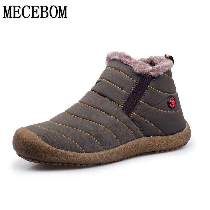 Men's winter snow shoes casual ankle boots lightweight waterproof plush furry inside warm shoes Zapatos Hombre sapato 38-44