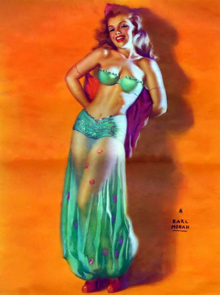 "Earl Moran - ""A Harem-Scarum"" from his November 1952 Calendar. Another illustration of Marilyn Monroe by Earl Moran. His 1952 Calendar features many illustrations in bright colors and costumes such as this lovely illustration. I love his ability to put the sheer costume over the legs and still have a great background to his work. This calendar just arrived today. Hope you enjoy! - From the Great American Pinup on Facebook - https://www.facebook.com/GreatAmericanPinUp"