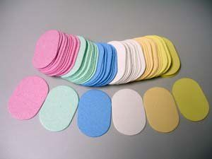 """Compressed Cellulose - 144 Pack - Oval Sponge by Sponge Producers. $50.00. Unique Oval Shape - 1-3/4"""" x 3-1/8"""", expands to 5/8"""" when wet. Compressed Sponge. Value Multi Color pack - 144 Sponges. High Quality Sponge. Great for facials, removing make up or masks, skin peel, etc.. Compressed cellulose oval shaped sponges for hard to reach areas.. Compressed sponges are great space savers that become soft and pliable when moistened. Use to remove or apply cosmetics, facial ..."""
