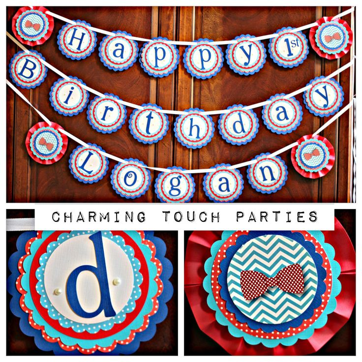 "Boy First Birthday / Little Man Mustache/Bowtie ""Happy Birthday NAME"" Banner. Party Decor by Charming Touch Parties. Fully assembled. by CharmingTouchParties on Etsy"