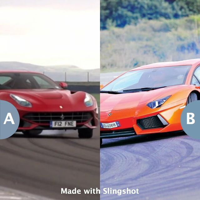 Would you rather own a Ferrari F12 or Lamborghini Aventador? Click here to vote @ http://getslingshotapp.com/share/89101