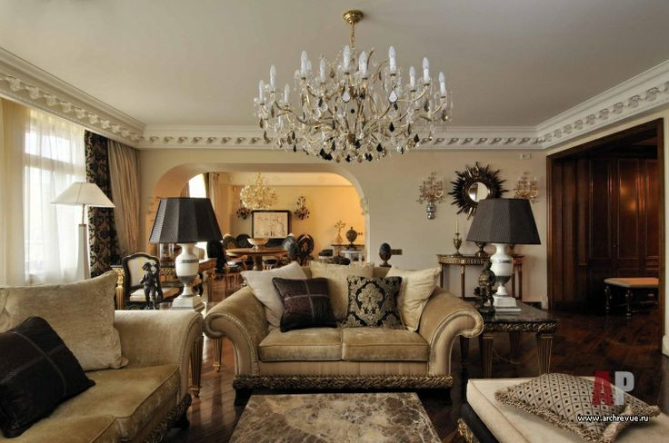 #Design #interior of an #apartment  in classic style (14 photos) | Дизайн интерьер квартиры в классическом стиле (14 фото) - Фото интерьера гостиной в неоклассическом стиле
