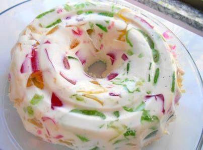 Prepare as gelatinas conforme a embalagem e leve à geladeira até endurecer. Quando estiverem firmes corte em cubinhos e reserve. Dissolva a gelatina sem sabor conforme as instruções da embalagem. Bata no liquidificador o creme de leite, o leite condensado, o leite de coco e a gelatina já hidratada e dissolvida. Junte o creme batido com as gelatinas em cubinhos e coloque em uma forma grande de cone central umedecida. Leve à geladeira por, no mínimo, 3 horas. Desenforme-a e sirva.