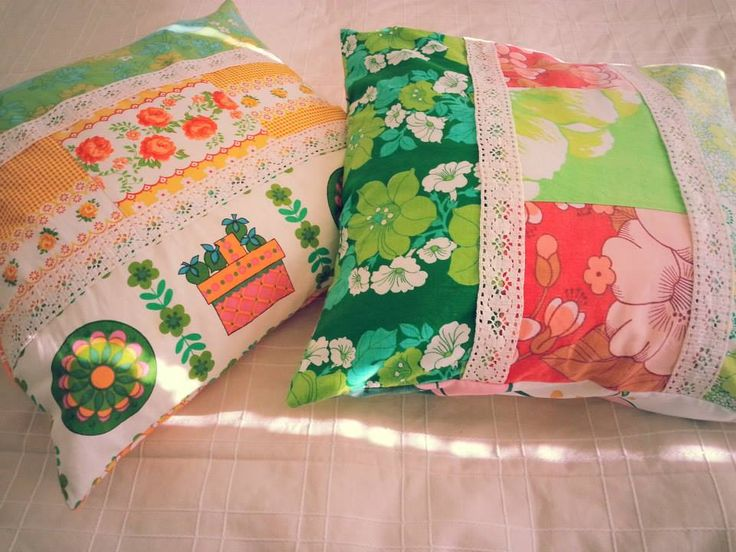 DIY cushion covers. Made with colorful vintage sheets, curtains and hand made lace.