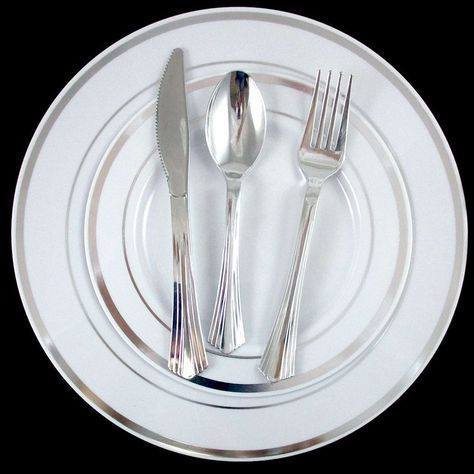 90 People Dinner Wedding Disposable Plastic Plates Silverware Silver Rim Party !