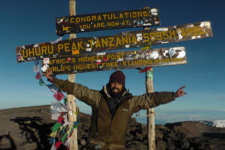Here is Hap at the Uhuru Peak! Africa's highest point on Kilimanjaro at 5895M