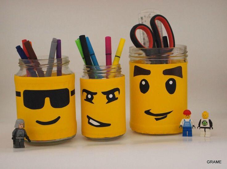 recyclage, détournement, récup, récupération, customisation, bocaux, pot verre, bocal, adhésif, vénilia, légo, pot crayons, grame, diy, bricolage, enfant, chambre, bureau