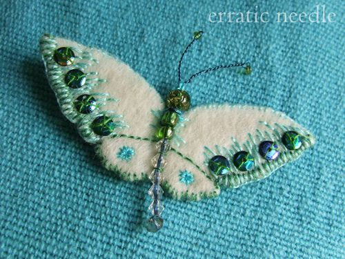 another butterfly brooch by Erratic Needle, via Flickr