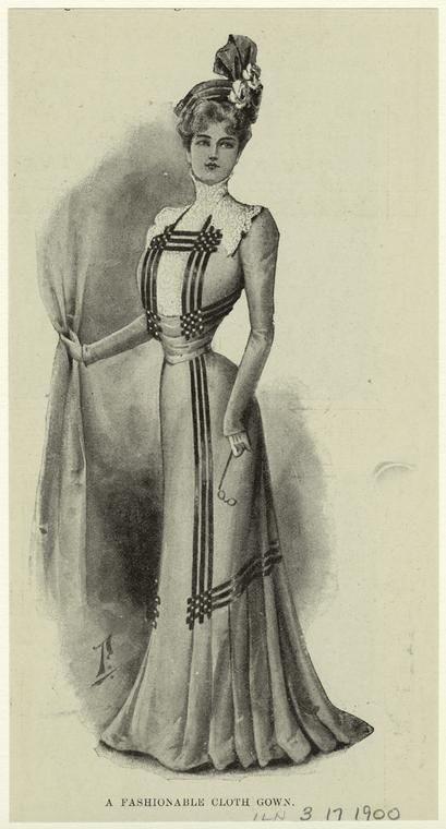 A fashionable cloth gown. (1900)Fashion Clothing, Yesterday Fashion, Fashion Plates, 1900 Vetement, Victorian Fashion, Fashion Edwardian, 1900 1909
