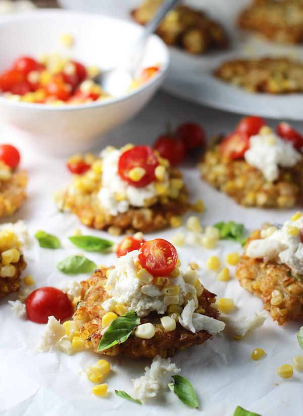 Grilled Corn and Crab Fritters with Ricotta, Cherry Tomatoes and Basil